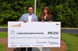 (LEFT to RIGHT) Houstoun Demere, Vice President of enmarket, presents check to Dana Stevens, Area Director of the Leukemia and Lymphoma Society