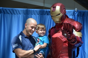 (LEFT to RIGHT) Salvatore Perniciaro and Rocco Perniciaro meet with Iron Man at the Savannah Mall's Superhero Saturday