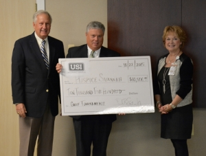 CAPTION: (LEFT to RIGHT) Bruce Barragan, Hospice Savannah Board chair 2015; Daniel R. Sims, Jr., Vice President and Senior Client Executive at USI; Debra Larson CEO & President at Hospice Savannah, Inc.