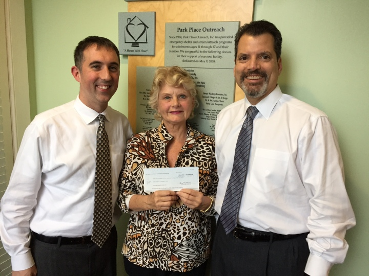 Bank of America Donation to Park Place Outreach %28LEFT TO RIGHT%29 Todd Cellini%2C Linda Hilts and Chris Sotus
